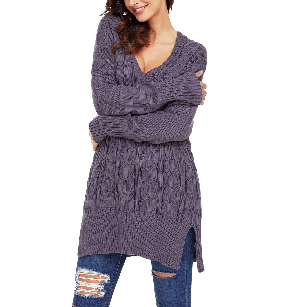 Get Quotations · YOUR GALLERY Women s V Neck Oversized Chunky Cozy up Side  Split Knit Sweaters e5ae9c0af