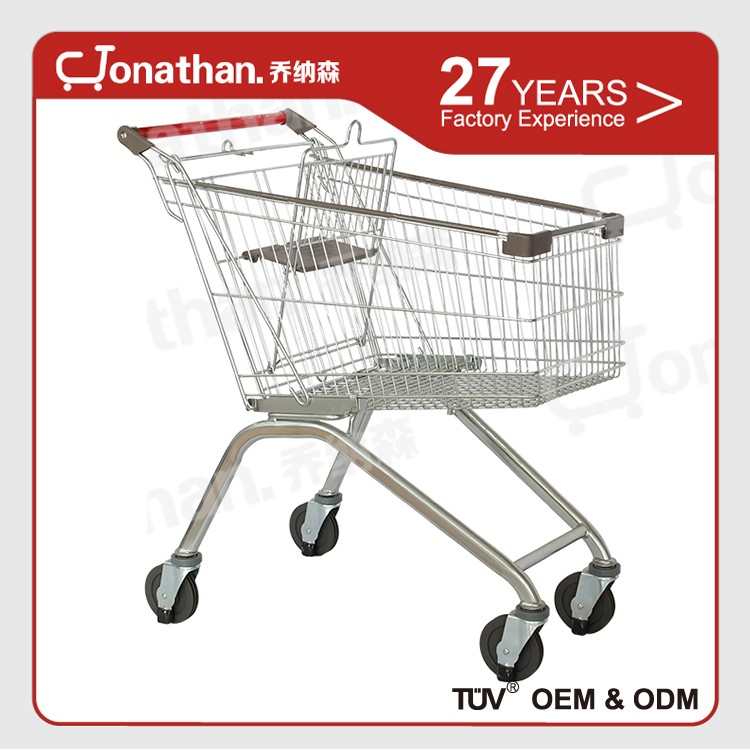 60L grocery metal coin keychain supermarket shopping carts trolleys