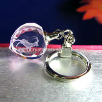 Pink Heart Shape Crystal 3D Laser Keychain with Sheep Image, Logo Customized