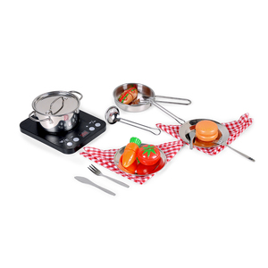 18pcs PP Cutting Cooking Pretend Play Food Set Cookware Serve Utensils Learning Educational Kitchen Toy with PP Induction Cooker