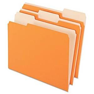 Pendaflex Two-Tone Color File Folder - Letter - 8.50quot; Width x 11quot; Length Sheet Size - 1/3 Tab Cut - Assorted Position Tab Location - 11 pt. - Orange - 100 / Box