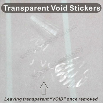 Custom blank transparent void stickersround transparent warranty void stickers clear tamper proof security