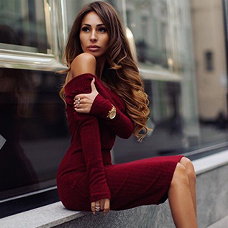 ffb98766106 F20538A Hot sale autumn winter wear women s long sleeve sweater dress for  ladies off shoulder fashion pure color dress