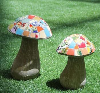 Merveilleux Ceramic Mosaic Plants Garden Decoration, Mushroom Shape Outdoor Ornaments  (BF01 P1022)