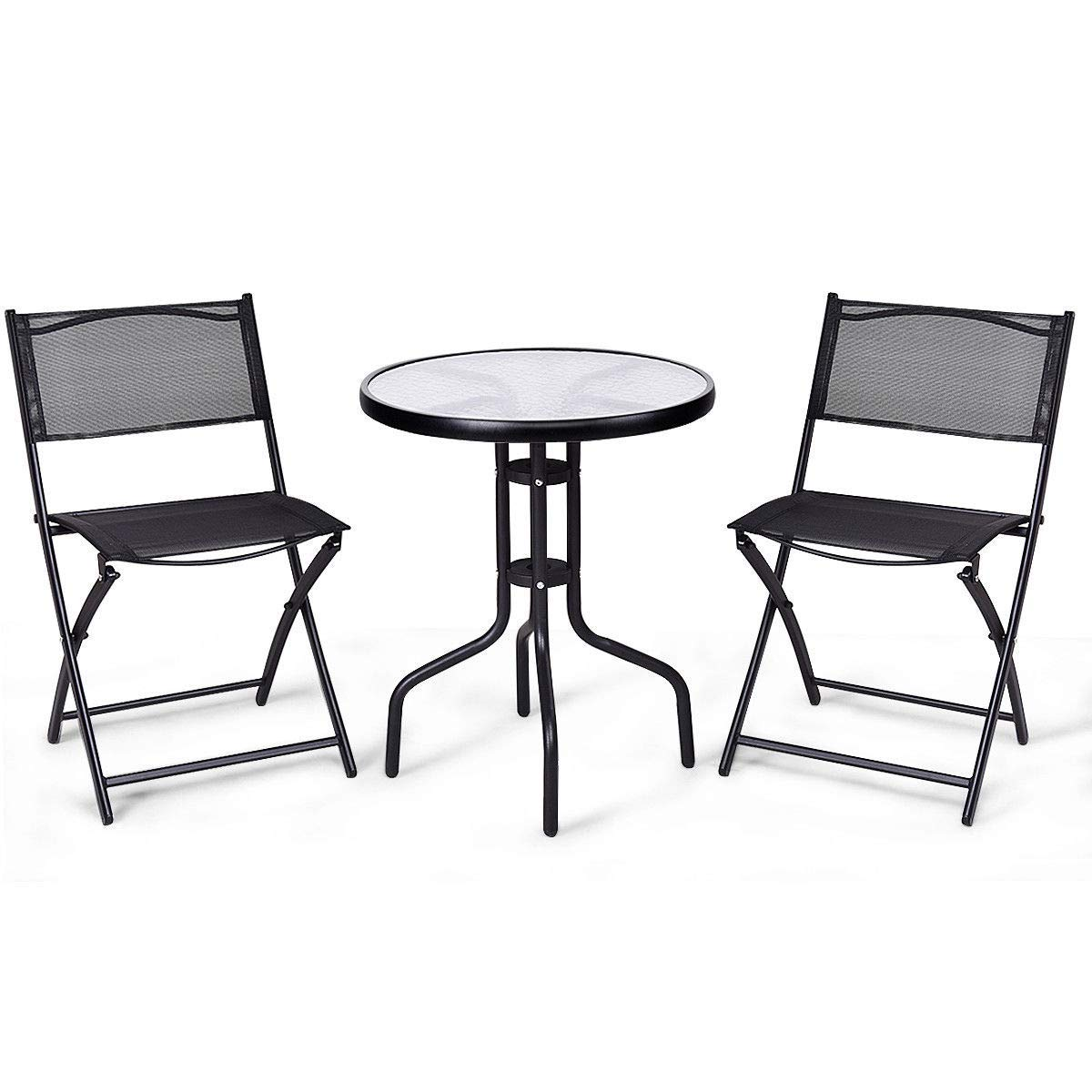 KCHEX>3 Pcs Bistro Set Garden Backyard Table Folding Chairs Outdoor Patio Furniture>This is Our 3-Piece Bistro Set which add a Fashion Style to Your Garden or Patio