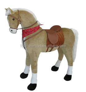 hot sales item Beige colored standing horse with cowboy song