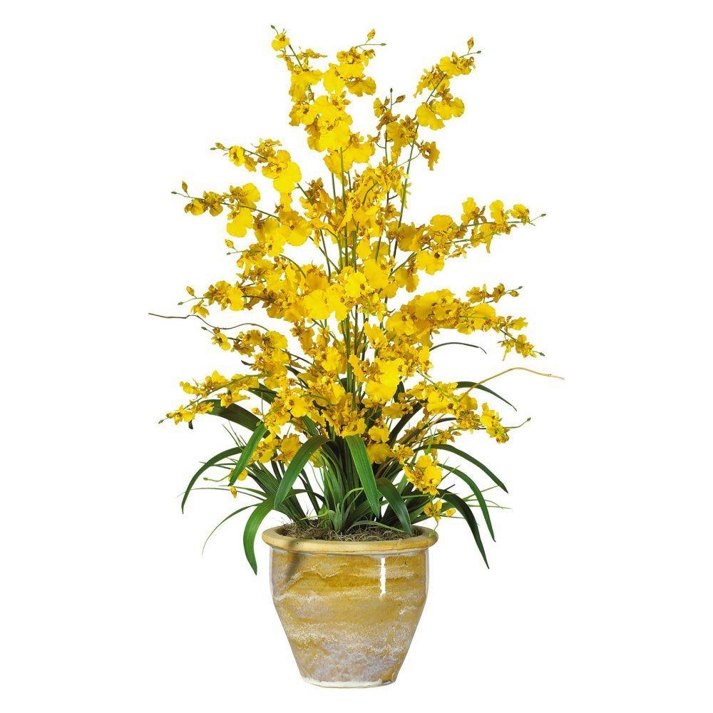 Buy Nearly Natural Cymbidium Orchid Silk Flower Arrangement In White