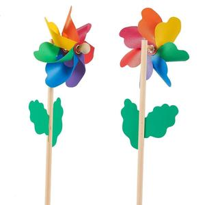 Colorful Pinwheels,Rainbow blades with wood wand plastic windmill,Suitable for Garden, Party, Outdoor, Yard, Decoration