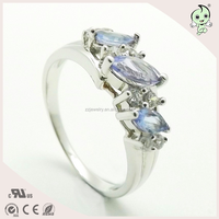 18K Gold Tanzanite Diamond 925 Silver Jewelry Ring Silver Gemstone Ring