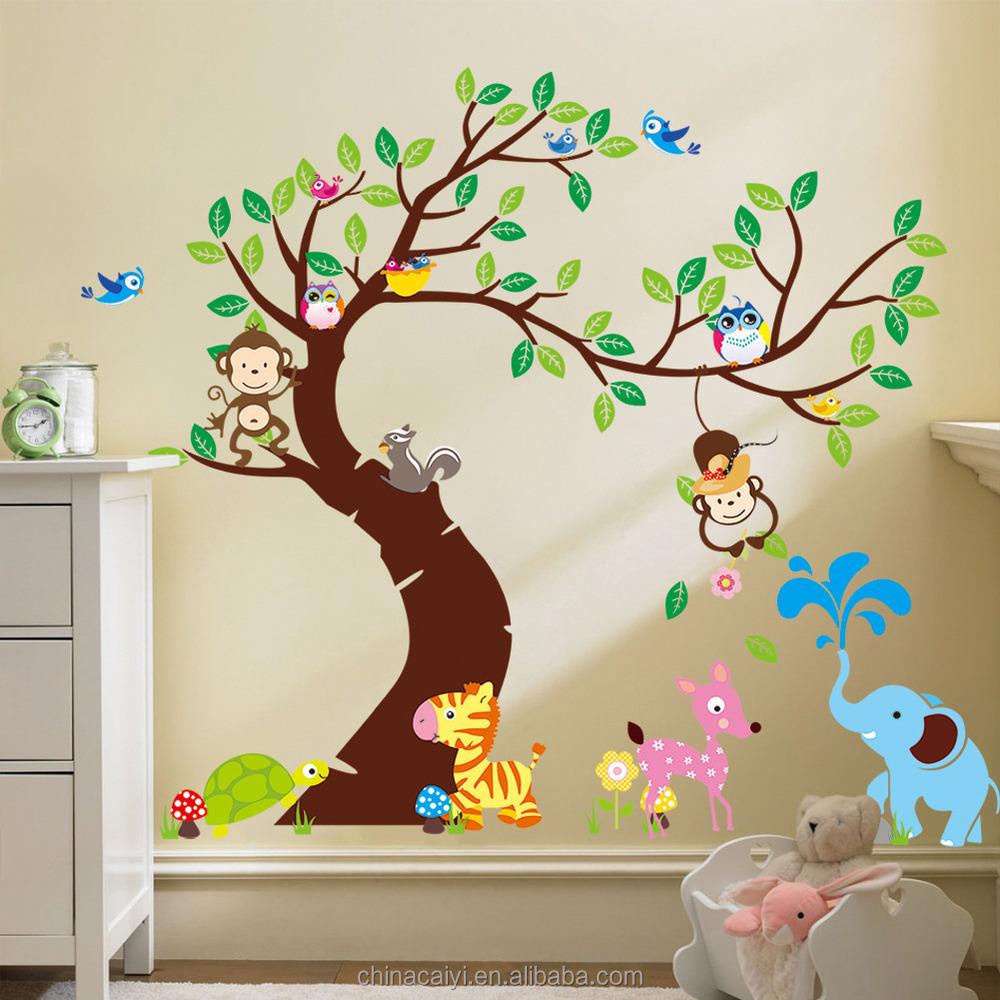 Kustom Removable Wallpaper Burung Hantu Pohon Stiker Dinding Untuk