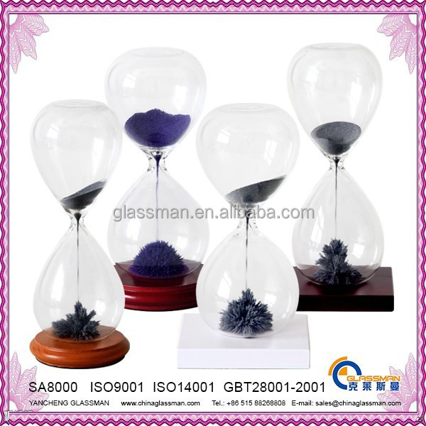 Magnetic Hourglass With Ferrous Sand (Iron Filings) & Wood Base