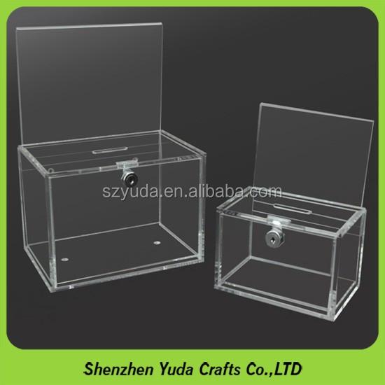 Acrylic Boxes Custom Made : Custom made acrylic doantion box with sign holder printed