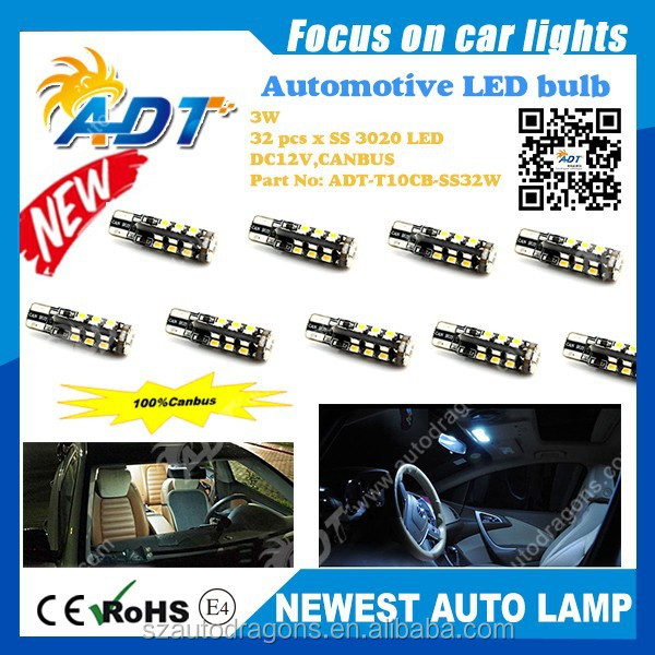 High Power SS 3020 SMD LED 3W T10/W5W/196/168 DC12V canbus no error auto lights