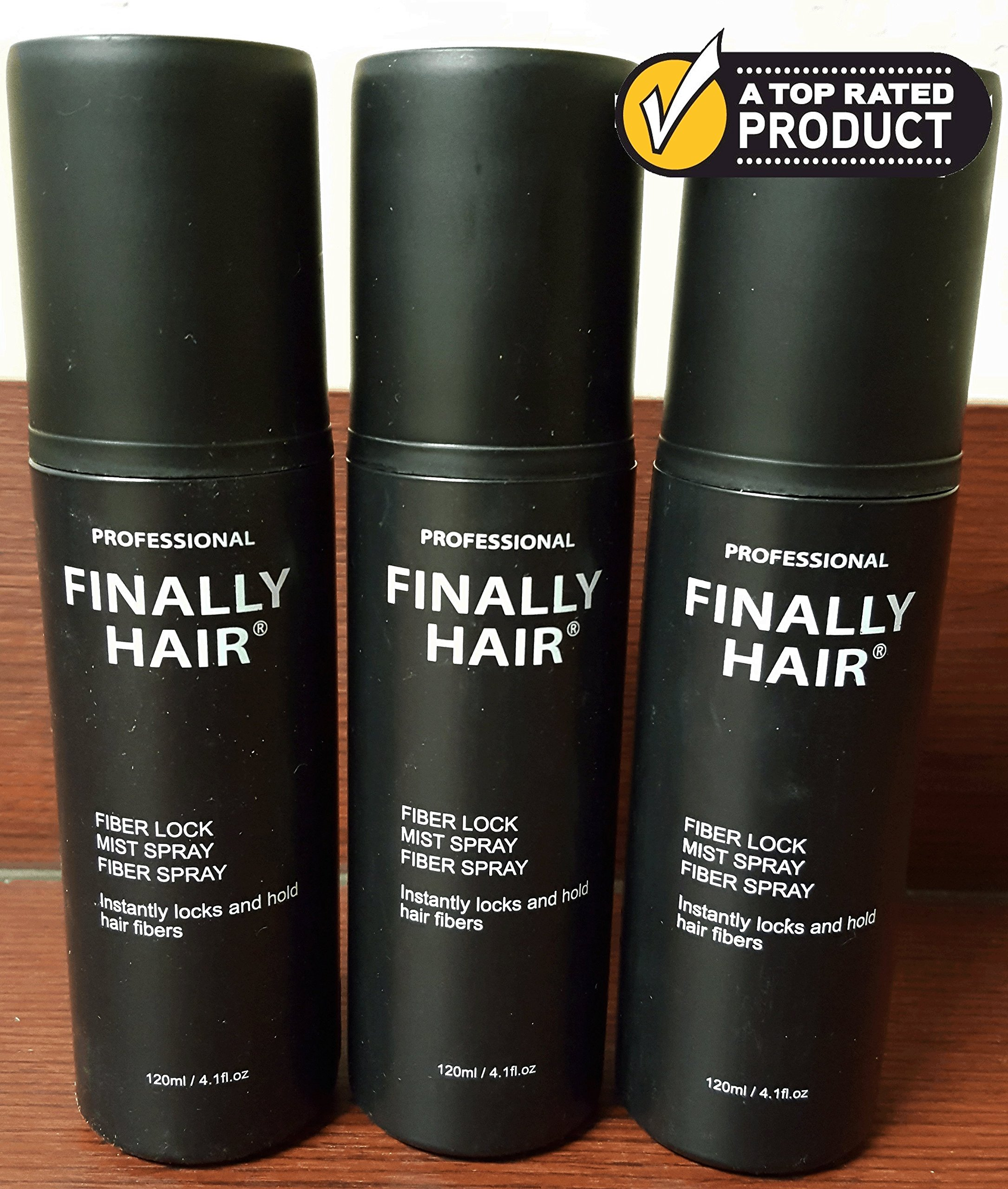 Hair Building Fiber STRONG Fiber Lock Hair Spray 3 Pack by Finally Hair (can be used with competitors fibers like Toppik, Xfusion, Strand, Cuuva, Efficient, Fibrex, Bosley)