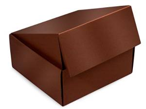 "Decorative Shipping Boxes - Chocolate Gourmet Shipping Boxes 9x9x4"" Auto Lock Boxes - (6 Per Pack) - WRAPS - 52CH"