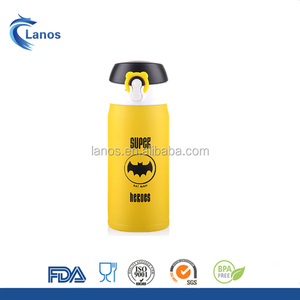 350ml Stainless Steel double wall Thermo mug Water Bottle Kids Vacuum Flask with flip-open lid