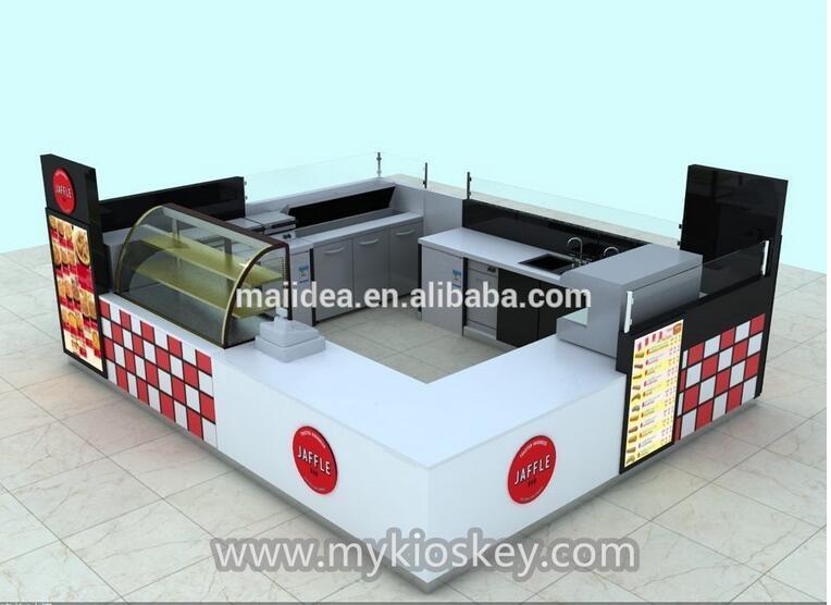 waffle / crepe food counter design for mall food kiosk