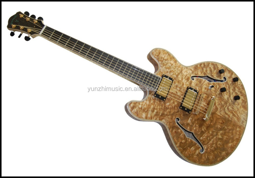 yunzhi fully handmade solid wood bird maple double cutaway archtop electric guitar