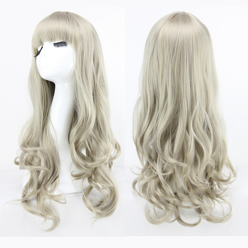 Fashion Full Lace Synthetic Wig Womens Wigs 65CM Long Curly Wig Full Bangs Silver Grey Holiday Party Wigs Cosplay Hair