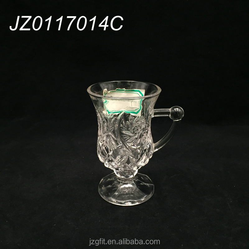Hot sale high quality engraved stem small glass coffee cup with handle, turkish tea cup with handle, shot glass with handle.