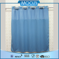 hotel bathroom hookless shower curtain with liner