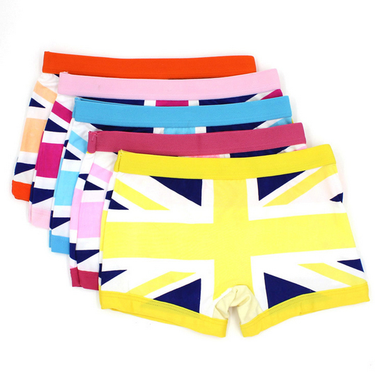 5pcs/pack  Random color Hot selling cotton check jack boxer panties girls underwear calcinha baby clothing Free shipping