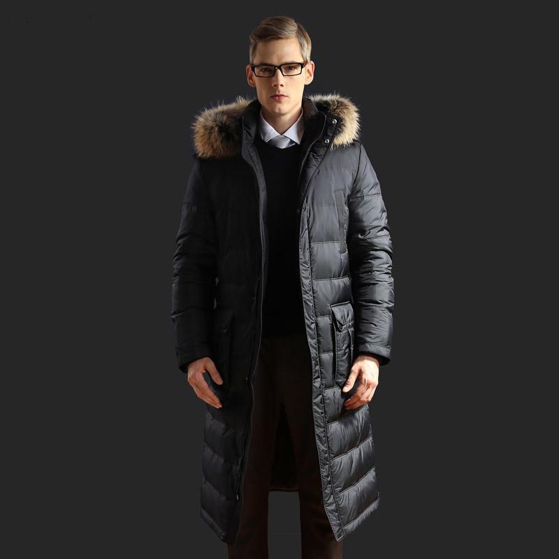 8b6acb3918225 Купить 2016 новые зимние мужчины белая утка вниз куртки пальто енот ...