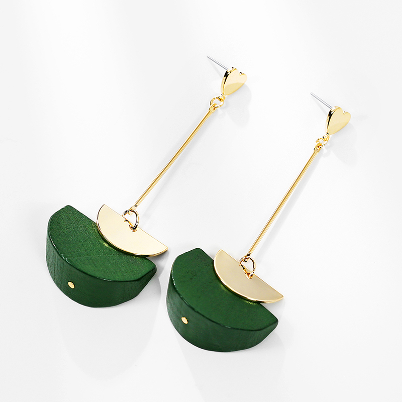 Dara Jewelry Brown Green Wooden Jewelry Golden Plated <strong>Drop</strong> <strong>Earrings</strong> for Girls