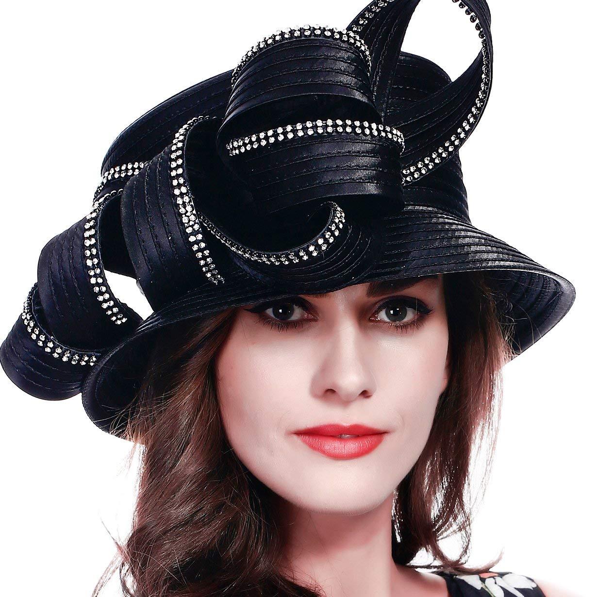 78b89eb6 Get Quotations · FORBUSITE Rhinestone Satin Braid Church Hats For Ladies