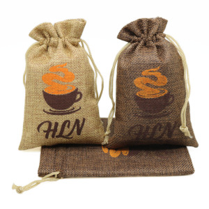 Custom natural drawstring jute bags wholesale hemp packaging