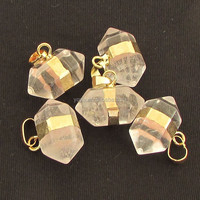 JF6556 Clear Crystal Quartz Double Terminated Pendant with Gold Electroplated Trim and Bail
