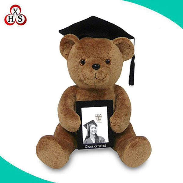 "custom soft plush graduate bear with 7inch 7"" picture photo frame manufacture"