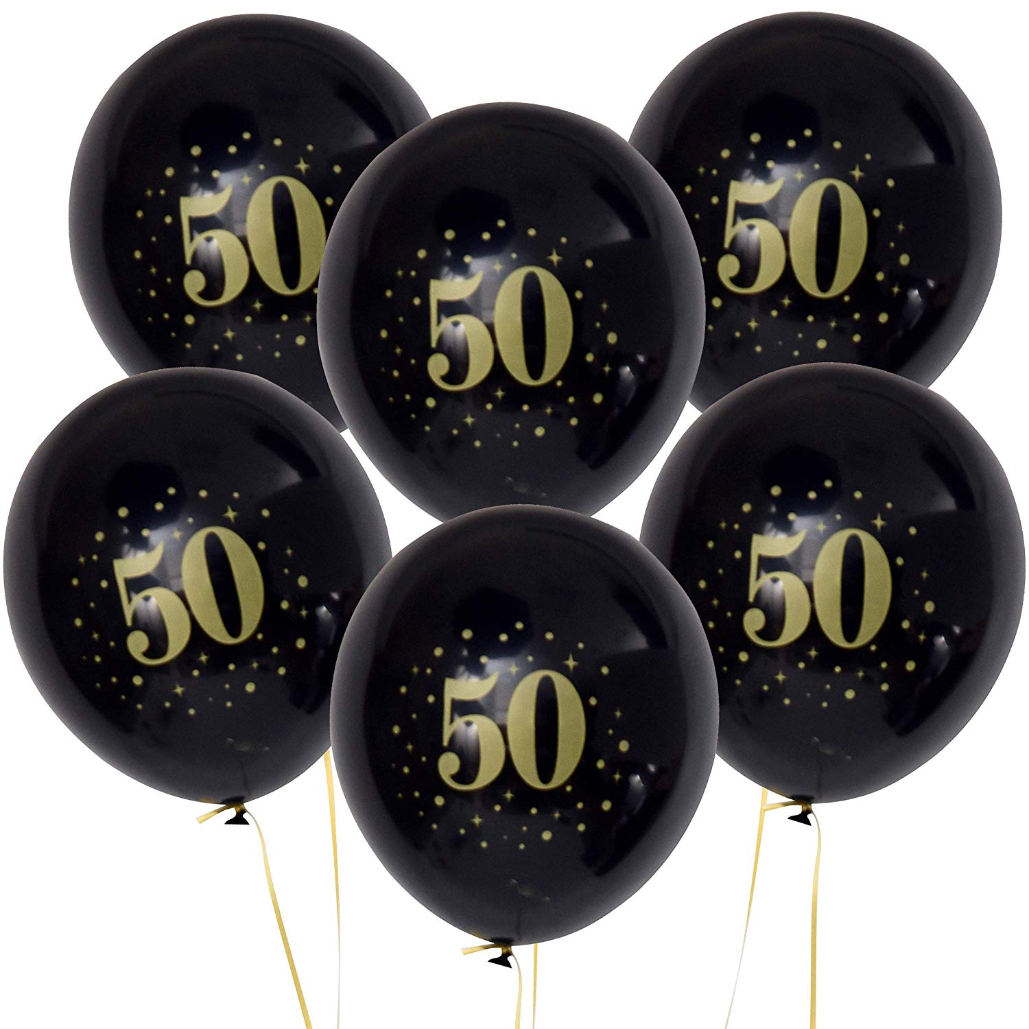 get quotations 36 count latex 50 theme balloons black with gold foil print for fifty year old and