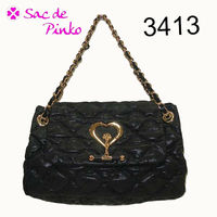 Fashion PU material Black quilted chain shoulder purse bags