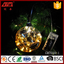 battery led christmas ornaments glass ball with cooper line lighted