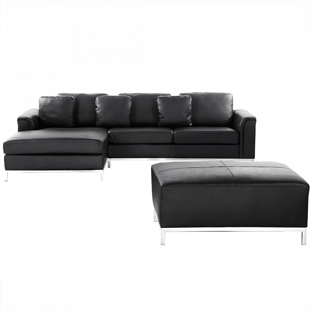 Velago Ollon Black R Modern Sectional Sofa in Leather with Ottoman