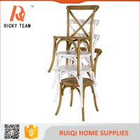 Antique french style solid wood frame customized size stackable cross back chair for wedding banquet/cafe/bedroom