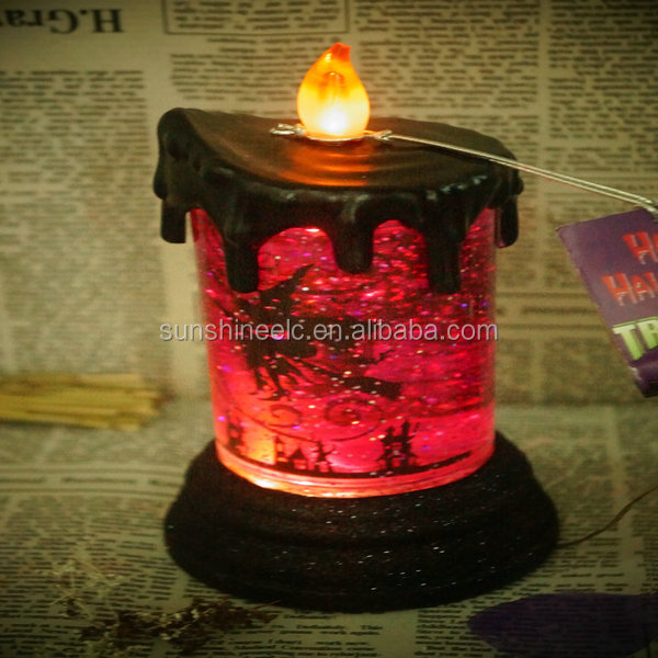 2014 new product china supplier 4 inch witch orange flameless plastic water flooding led candle for halloween