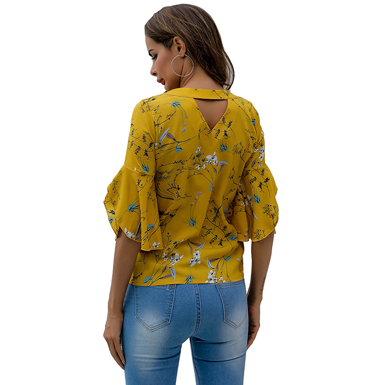 Gele Bloem Print V-hals Flare Mouwen Cut Out Back Vrouwen Mode Blouses Zomer