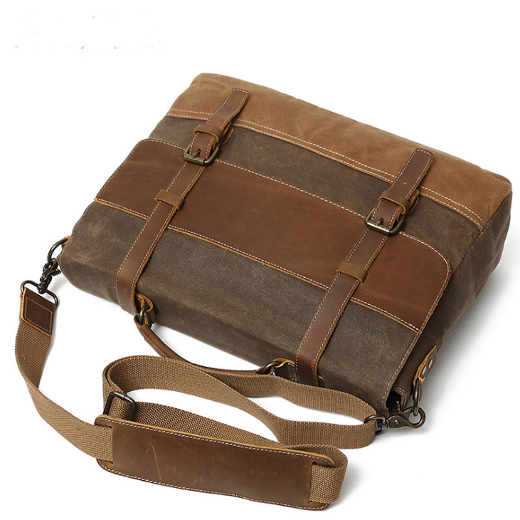 Newest Designer Vintage Crazy Leather Men Waterproof Waxed Canvas Sling Messenger Bag, Shoulder Bags With Laptop Compartment