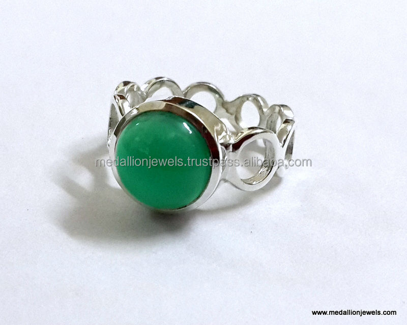 Green Onyx Round Cabochon Gemstone 925 Sterling Silver Ring, Bezel Designer Rings, Gemstone Rings