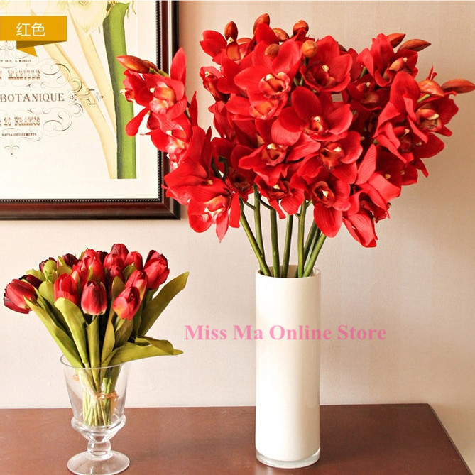 wholesale 50pcs big orchid orchis free shipping pu flower real touch artificial flowers wedding. Black Bedroom Furniture Sets. Home Design Ideas