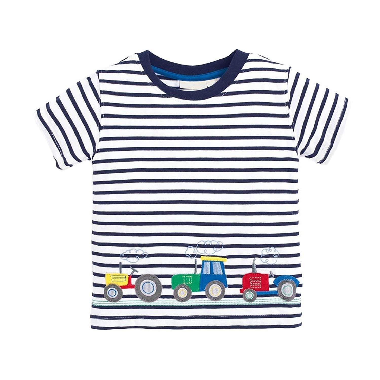 BEILEI CREATIONS Little Boys Summer Cotton Strip T Shirt,Summer Short Sleeve T-Shirt Clothes