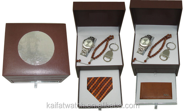 new mens promotional gift set with watch, buddha beads, keyring, tie, wallet