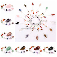 Wholesale Semi-precious Stone Jewelry Natural Healing Crystal Clear Quartz 8 Points Merkabas Chakra Pendulum Unisex Pendant