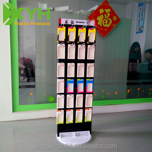 Custom Detachable Rotating <strong>Retail</strong> Floor Acrylic Display Stands with Hooks Acrylic Accessories Display
