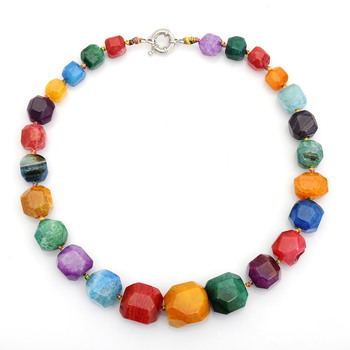 Candy jewelry multi color stone choker necklace for women