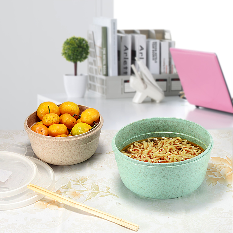 Custom Eco Friendly 1000ml Wheat Straw Food Fresh Seal Bowl With Lid