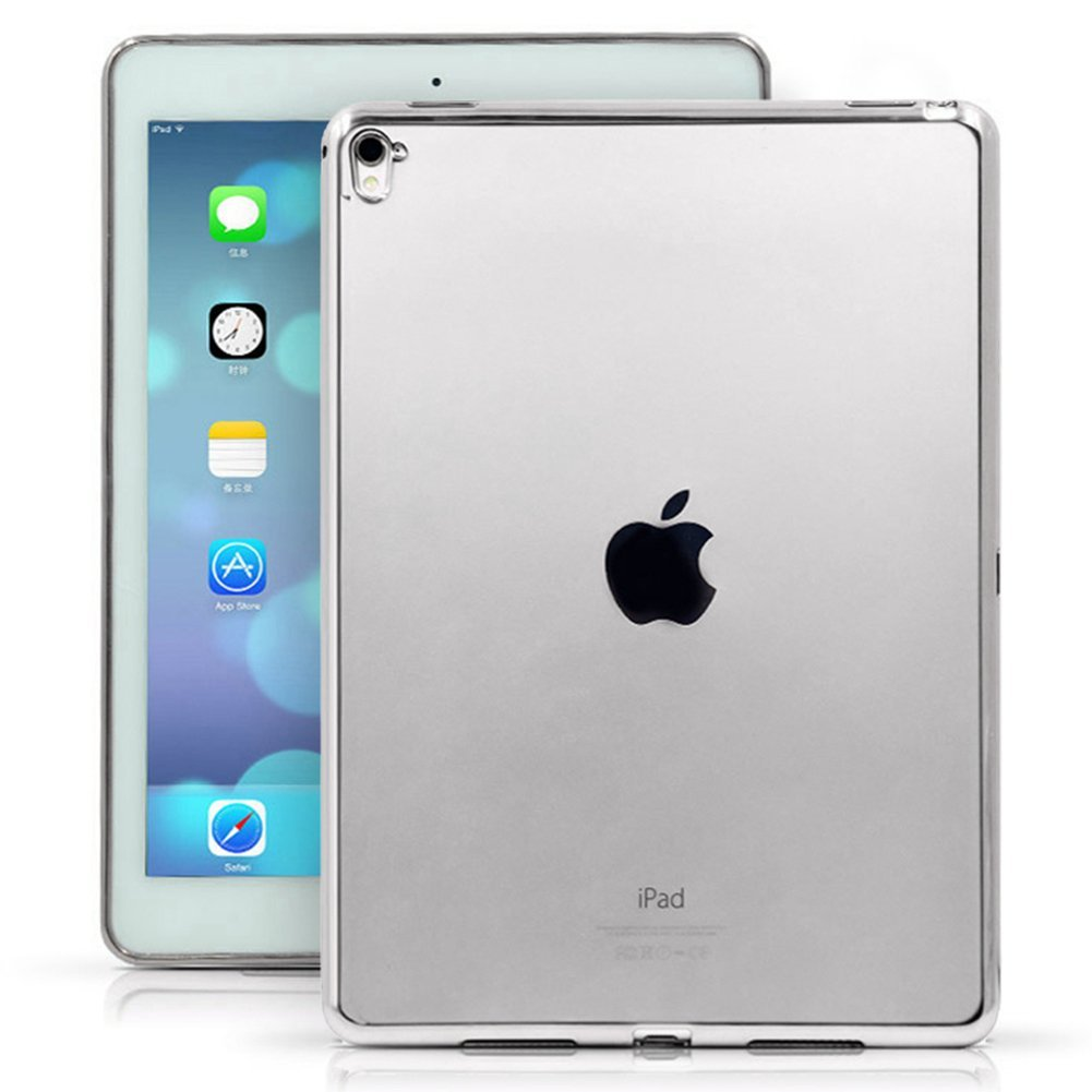 iPad 4,3,2 Case - SHEROX [Anti-Scratch] Shock-Absorption Clear TPU Bumper Case Slim Soft Cover Shell with Electroplate Frame for Apple iPad 2/ 3/ 4 (TPU-Silver)