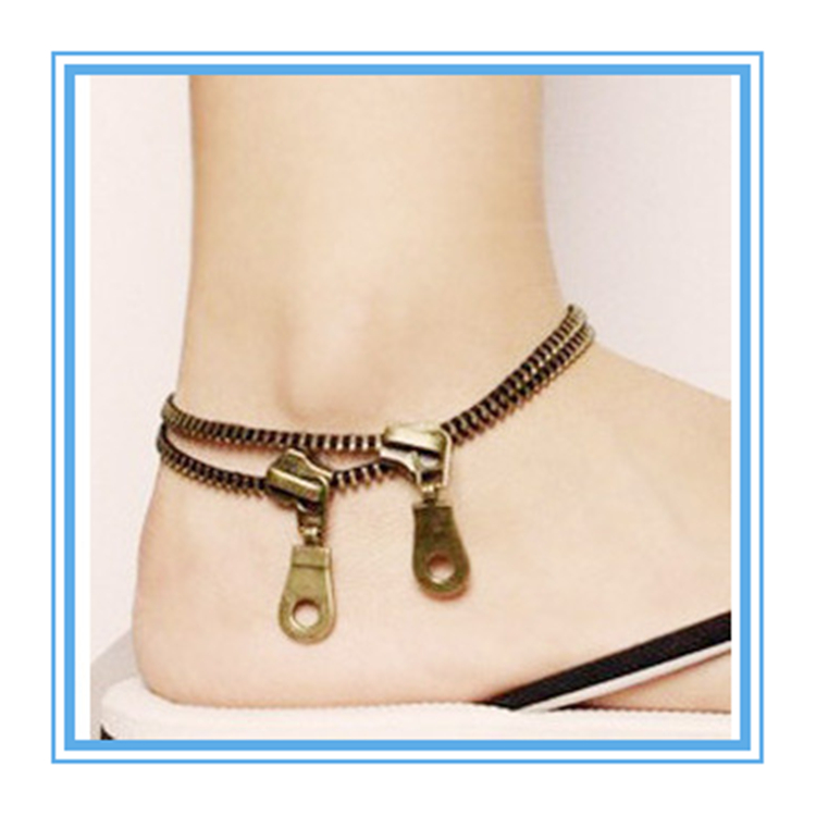 new products 2017 arabic fashion stainless jewelry hotwife zipper anklets
